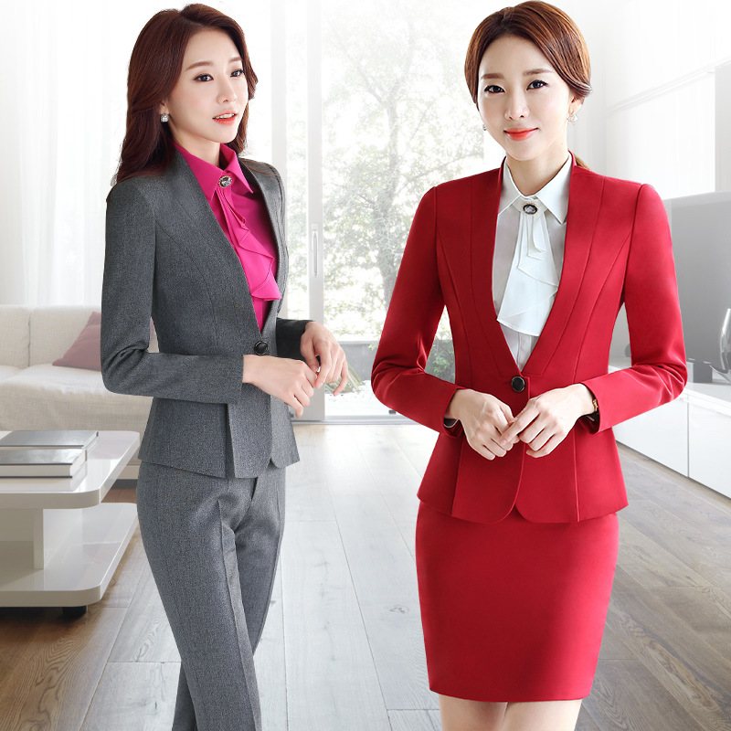 Oversized womens suit formal dress spring and autumn professional wear Korean version of slim white collar interview hotel beauty tooling trend