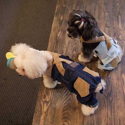 Touchdog它它经典款泰迪比熊衣服狗衣服小型犬时尚背带裤子牛仔裤
