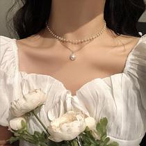 choker网红复古ins简约双层珍珠项链女潮锁骨链短款颈带脖子饰品