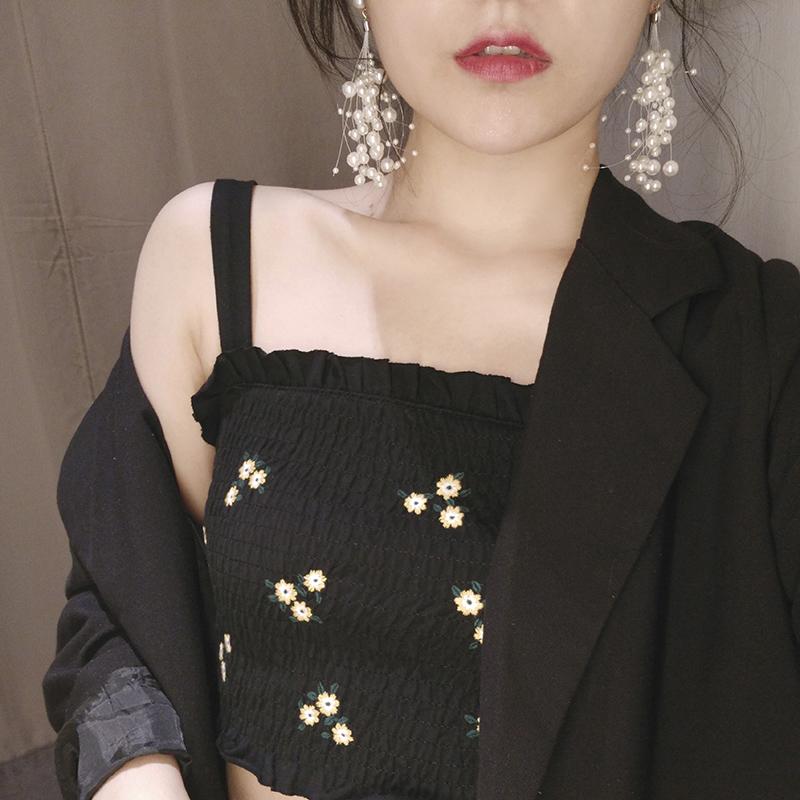 满天星长款流苏网红珍珠耳环超仙时尚气质仙女耳钉耳坠耳饰耳夹女图片