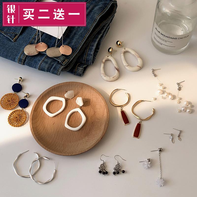 韩国气质网红2019新款潮耳环女长款小众高级设计感耳钉耳坠耳饰品