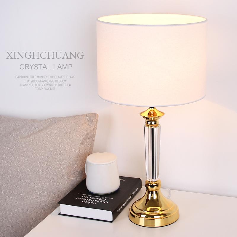 满80元可用5元优惠券欧式水晶台灯卧室床头遥控调光现代简约时尚创意大气奢华高档台灯