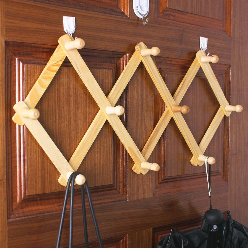大号木质伸缩挂钩原木菱形门后衣架