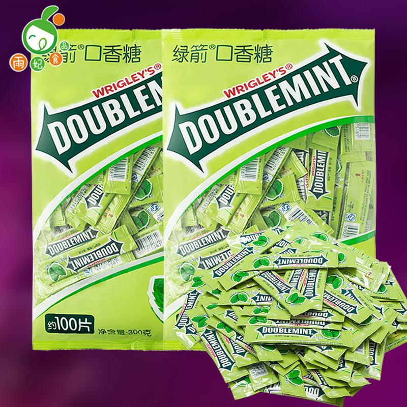 绿箭口香糖约100片袋装箭牌原味薄荷味300克办公室休闲零食品
