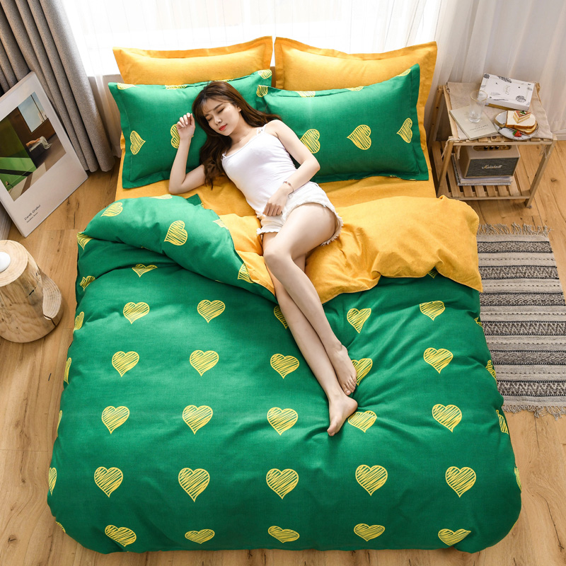 [normal delivery] Korean version of four piece bed sheet and quilt cover sheet double bedclothes wedding gift