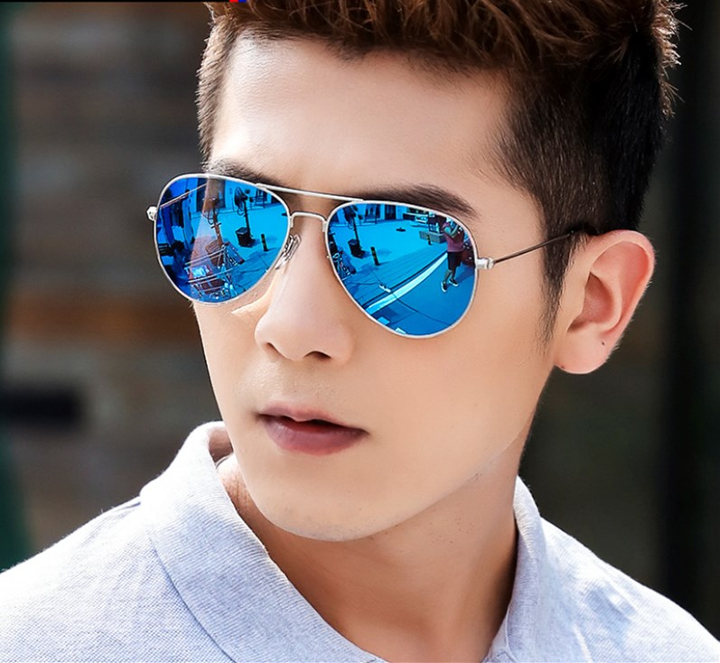 Oversized square sunglasses sunglasses for boys and girls white frame blue lenses sunglasses bag mail Sunglasses