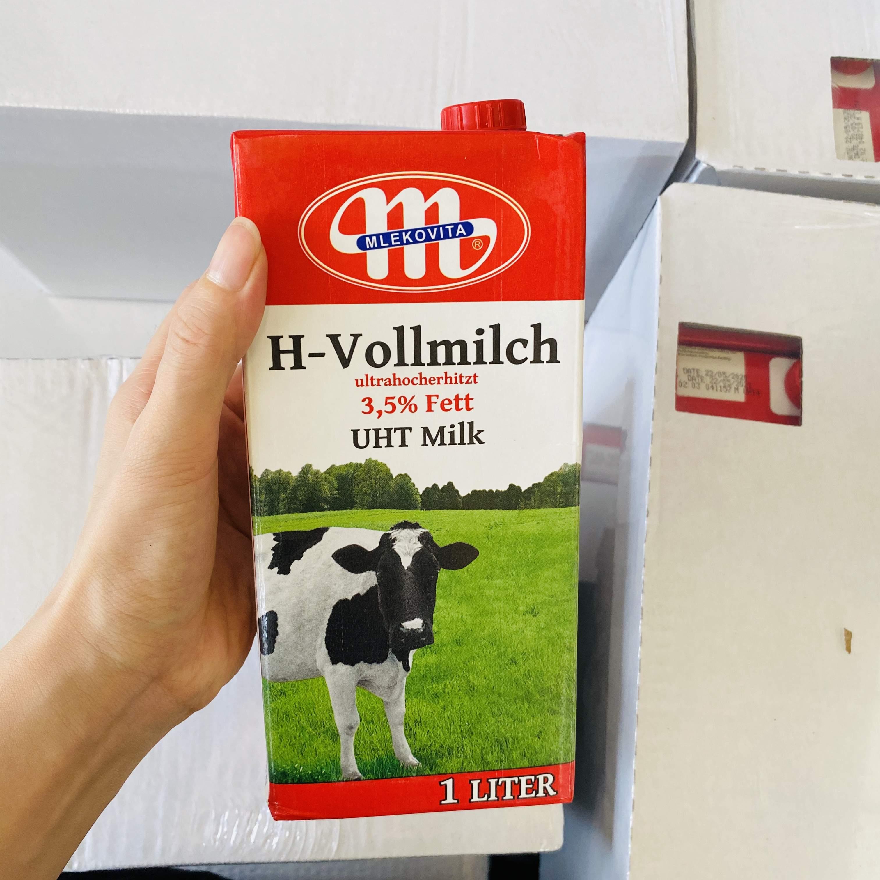 Big M imported mlekovita full Fat Milk 1L from Poland, 12 boxes of Lindburg for baking milk tea