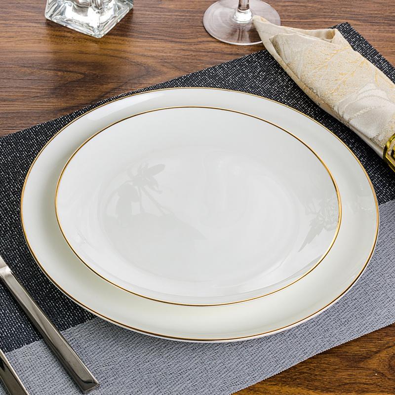 陶瓷牛排盘金边白色西餐盘子西式餐具酒店用品餐具摆台骨碟早餐盘