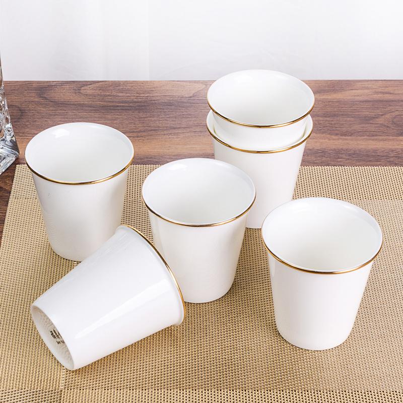 杯子10只装骨瓷小杯子迷你水杯喝水白色杯子陶瓷家用饮料杯子酒杯淘宝优惠券
