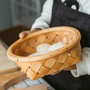 日式手工木片編織收納籃手工藤編面包水果雞蛋收納筐伴手禮提籃