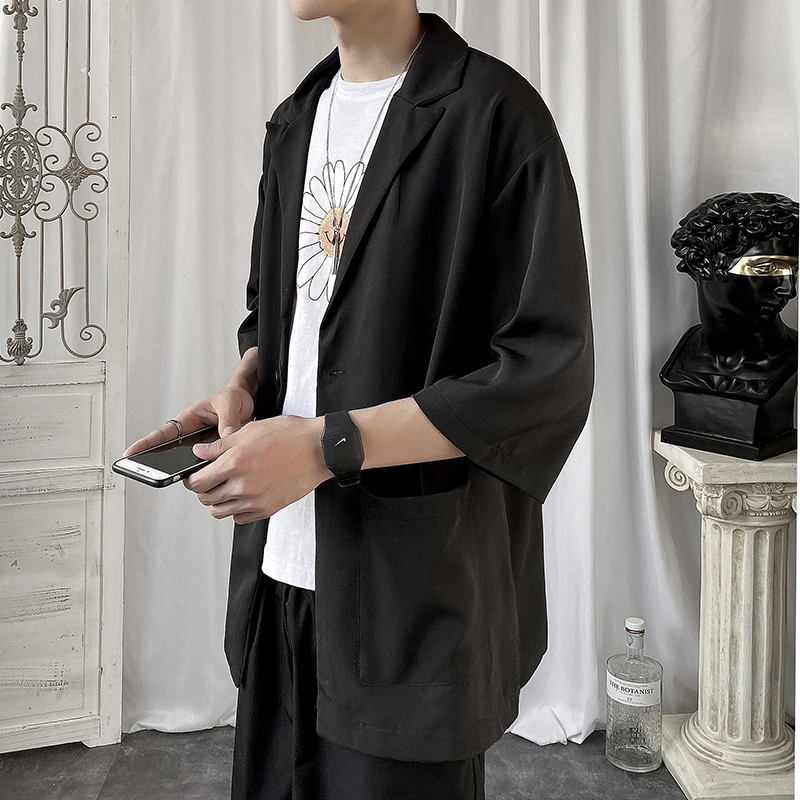 夏季七分袖衬衫男大码宽松五分袖西服外套上衣XZ917-1-XZ39-P45