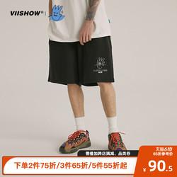 VIISHOW黑色短裤男纯棉透气时尚五分裤2021潮流夏季休闲运动裤KOB