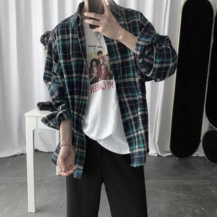 短句先生秋季新款綠色格子衫ins網紅韓版襯衫男韓版潮流百搭襯衣
