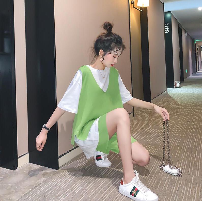 10-12新券三件套时尚休闲套装女运动网红洋气很仙的牛油果绿宽松夏2019新款