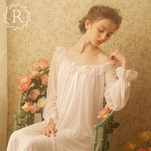 rosetree宫廷春秋复古蕾丝冰丝睡裙