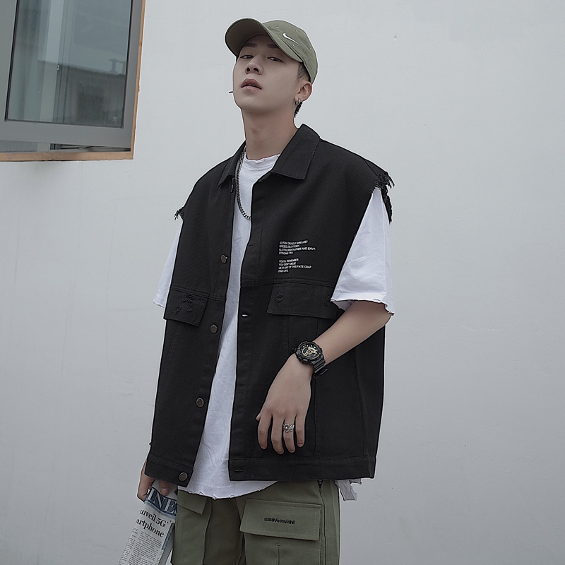 Summer new letter printing work clothes small vest vest Japanese loose and versatile boys and teenagers outerwear top