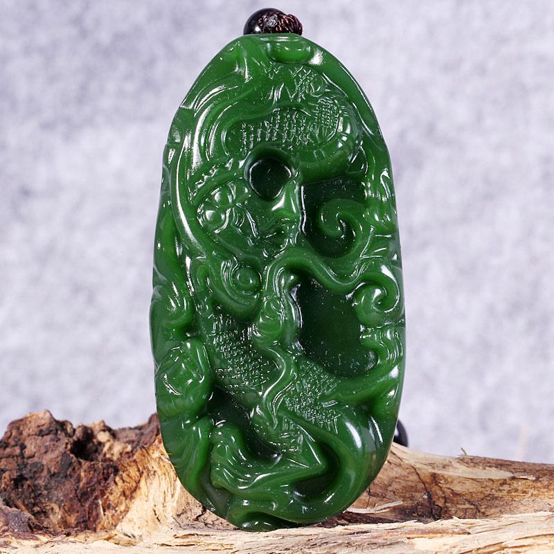 新疆和田玉碧玉手把件 飞龙在天文玩件玉器玉石籽料挂件