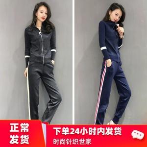 欧洲站休闲针织套装女时髦气质显瘦运动服长袖秋季新款女装两件套