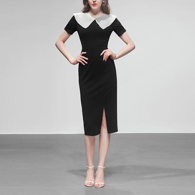 黑色修身长裙气质包臀裙子短袖显瘦中长款连衣裙女装2020新款夏装