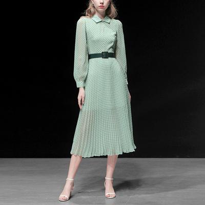 春裝2020新款女裝綠色襯衫波點長裙收腰顯瘦中長款雪紡連衣裙