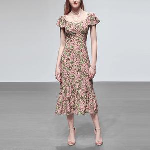 性感碎花长裙气质收腰裙子高腰显瘦中长款连衣裙女装2020新款夏季