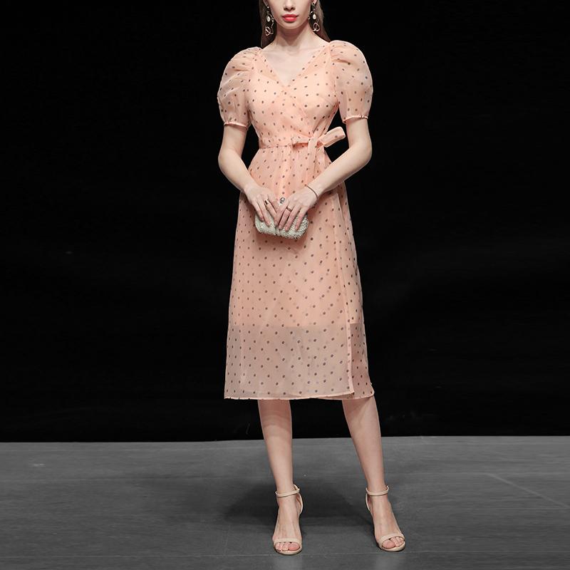 波点纱裙长裙气质性感收腰显瘦中长款连衣裙女装夏季2021新款