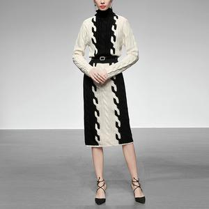 2019新款冬装高领撞色长袖腰带收腰显瘦长款针织毛衣连衣裙