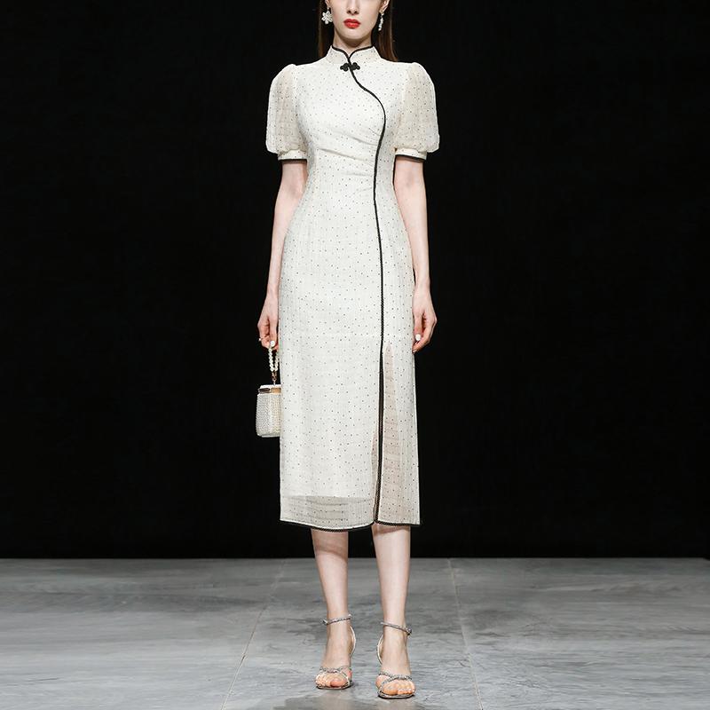 2021新款夏装女装波点泡泡袖开衩旗袍裙子短袖修身显瘦连衣裙长裙