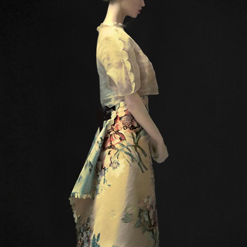 气质名媛两件套短袖上衣印花半身裙限时抢购