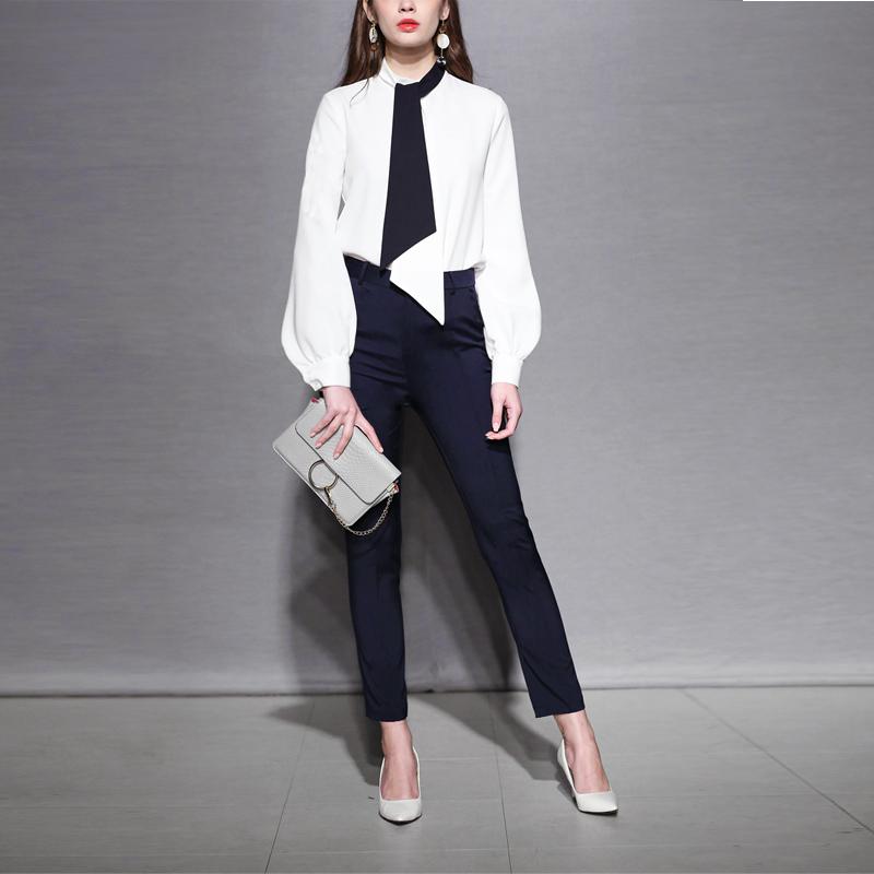 小香风职业套装女装时尚气质名媛衬衫修身裤子两件套2019秋装新款