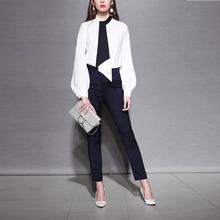 小さな香りの風のキャリアのスーツの女性のファッションの女性の気質スリムパンツツーピースのシャツ2020春新