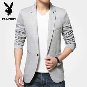 秋季男士休闲西装薄款韩版小西装男商务针织修身西服男装外套潮流