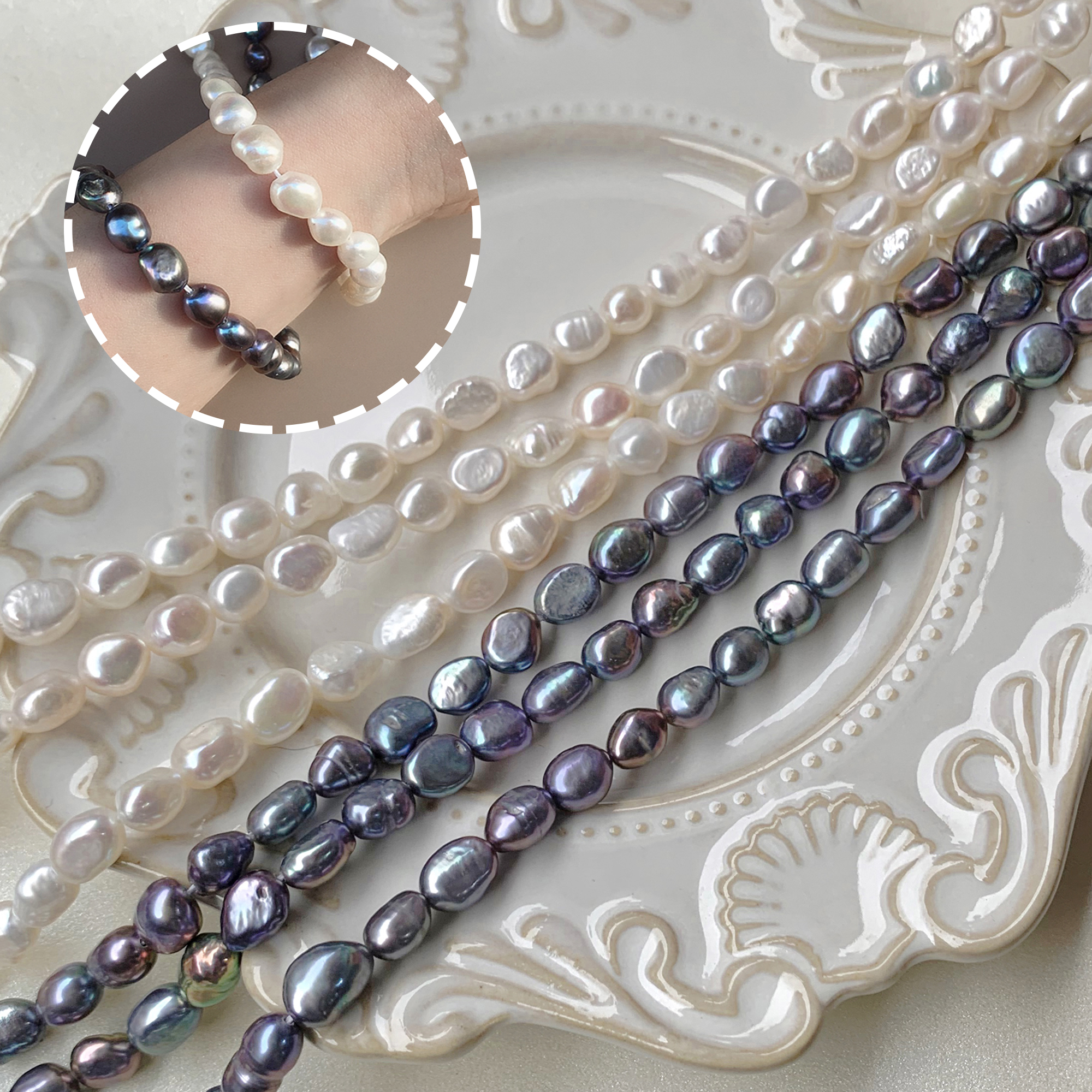 巴洛克7到8mm天然淡水珍珠散珠DIY手工项链手链发簪耳饰配件材料