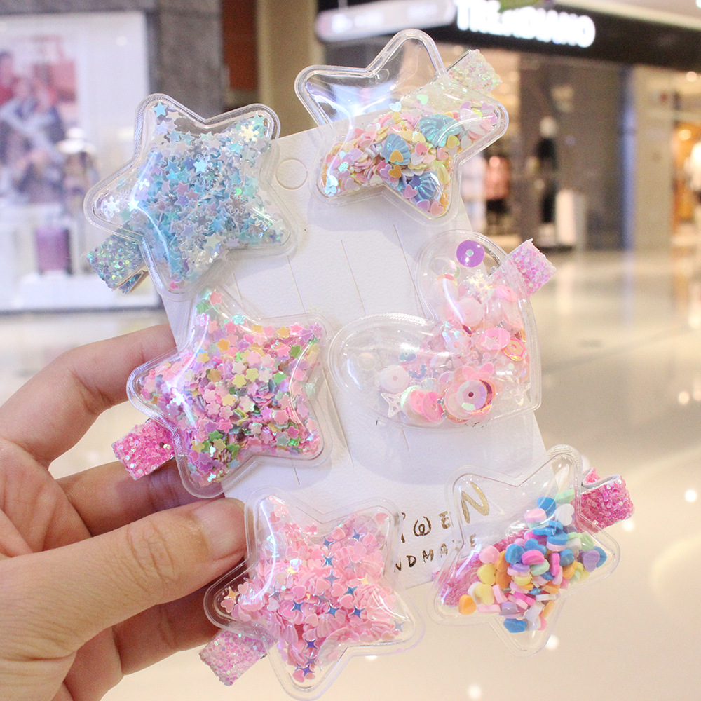 Korean childrens girl star love quicksand transparent Sequin hairpin clip students lovely princess hairpin