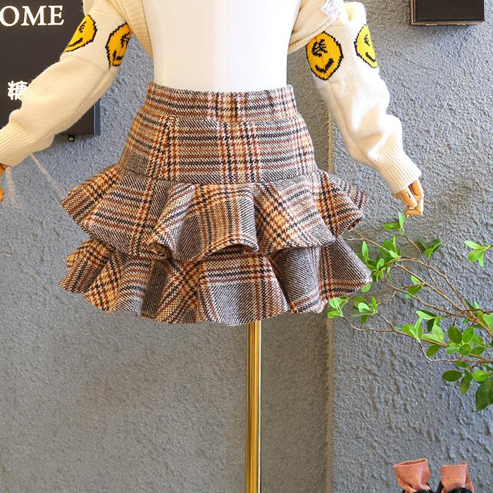 秋冬新款女童加绒学院风格子半身裙