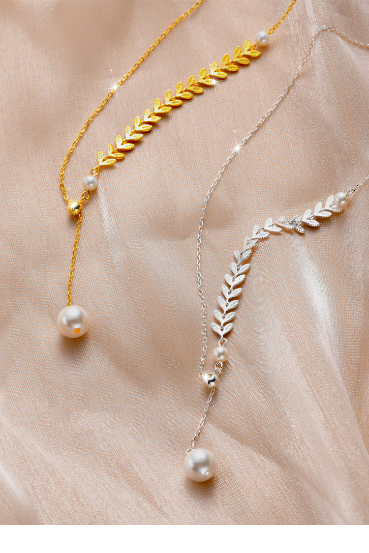 S925 all body pure silver new style simple personality versatile clavicle chain wheat tassel pearl necklace for women