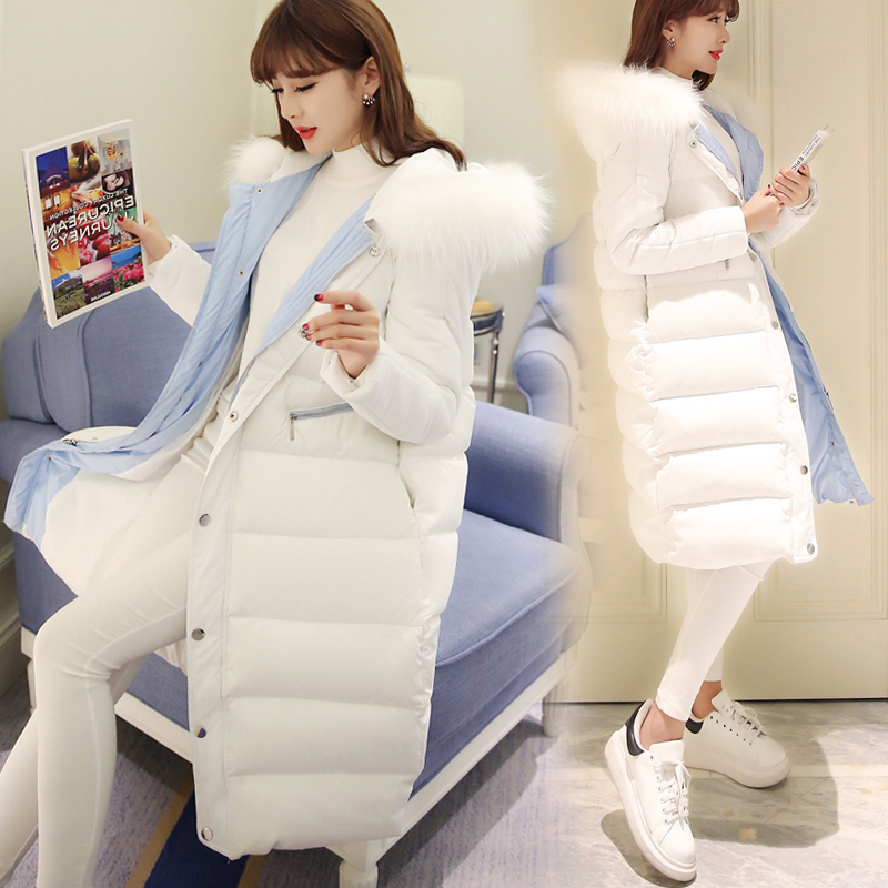 White cotton padded womens middle and long 2020 Korean New Winter large hairy collar down cotton padded jacket