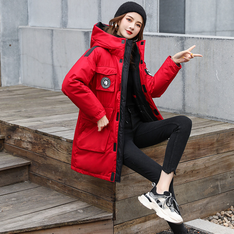 Winter geese down jacket women 2020 new popular loose mens and womens work clothes medium and long womens down jacket