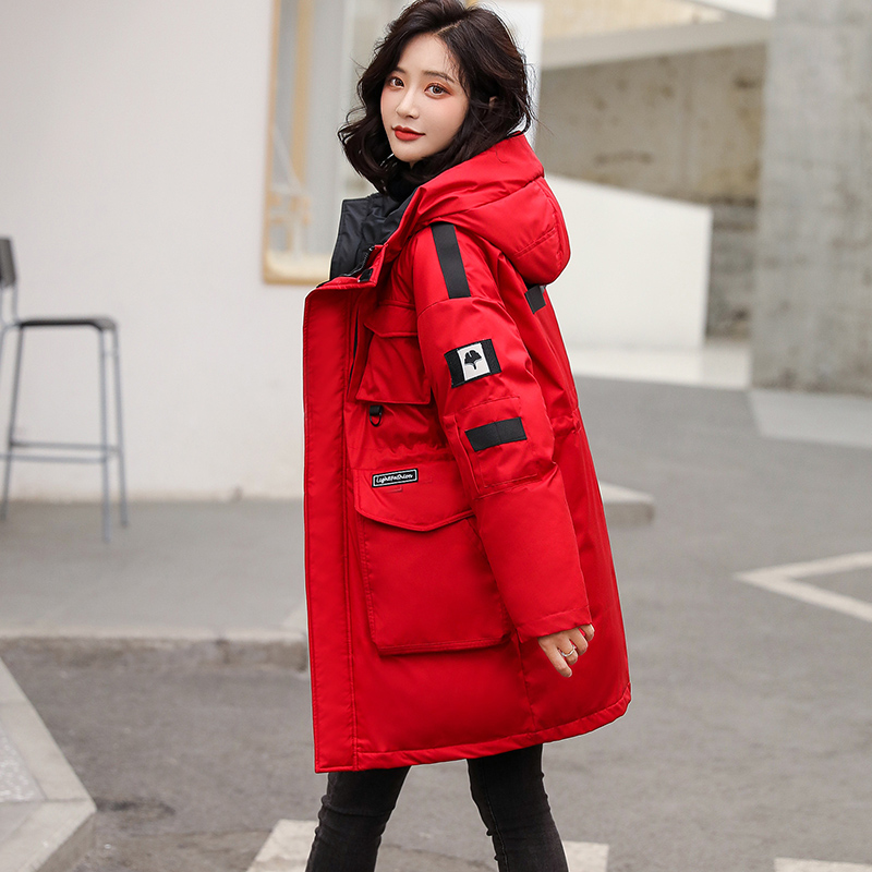 Red tooling down jacket womens 2020 new popular mens and womens Parka medium long fashion thickened coat womens winter