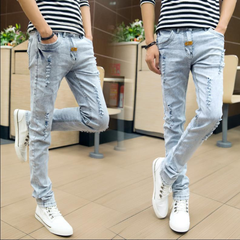 Mens jeans grey tight trousers thin youth slim waist personality pull style spring and summer young mens pants