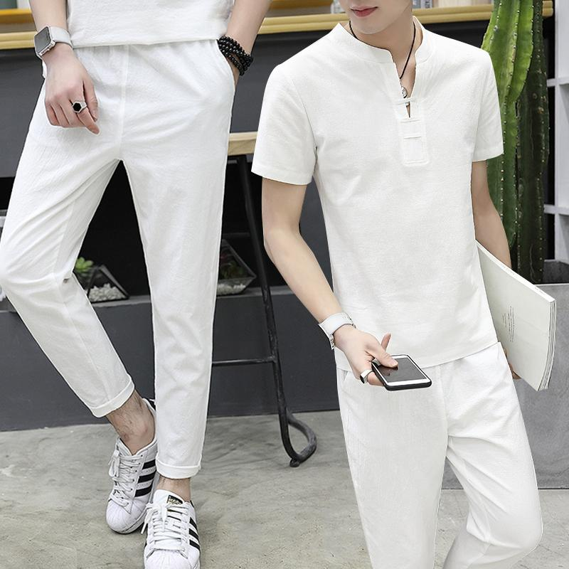Linen suit mens summer Chinese style retro short sleeve T-shirt youth slim fashion T-shirt