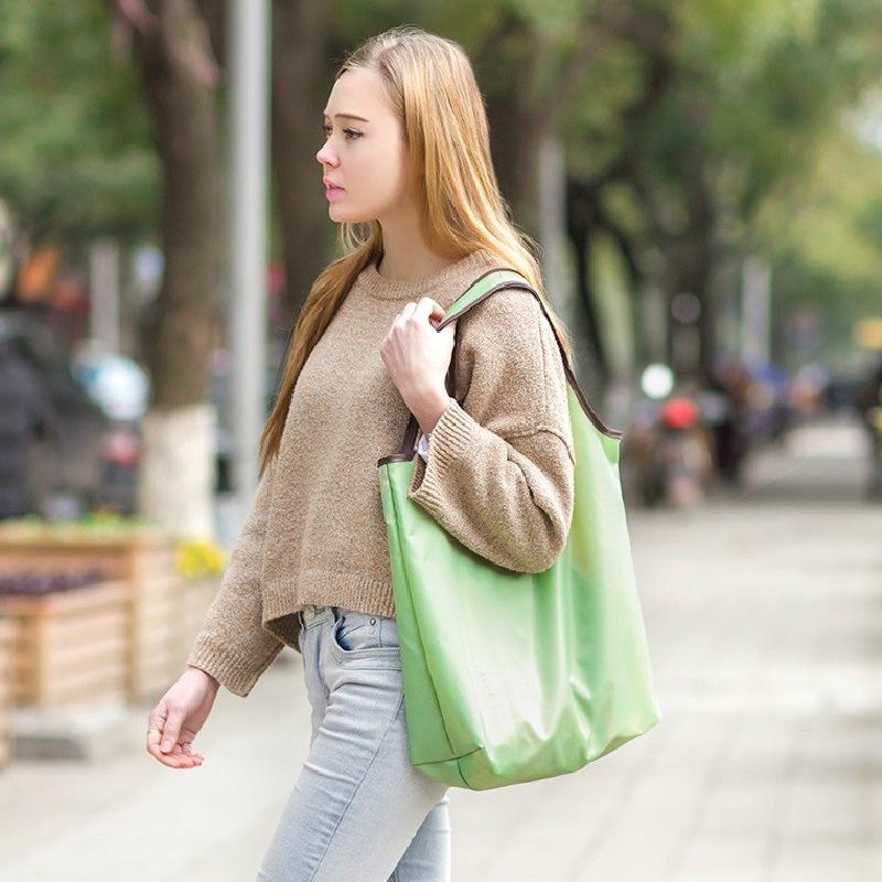 时尚折叠购物袋 环保牛津布购物袋加厚手提袋2件套超市买菜包耐用