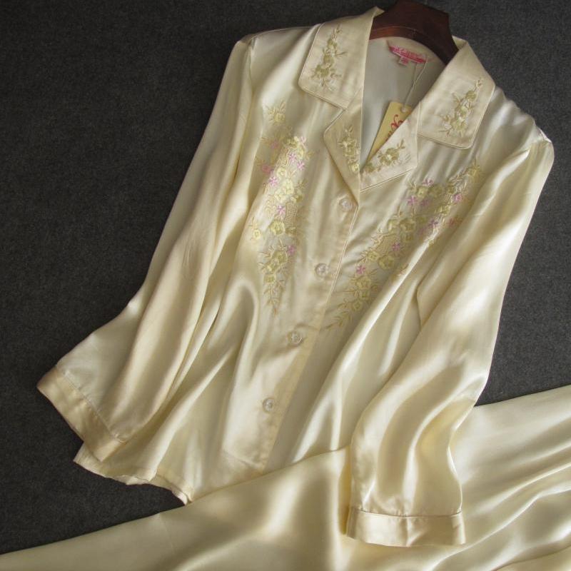 真丝缎绣花光泽舒适睡衣两件套长袖长裤家居服套装桑蚕丝丝绸睡裤