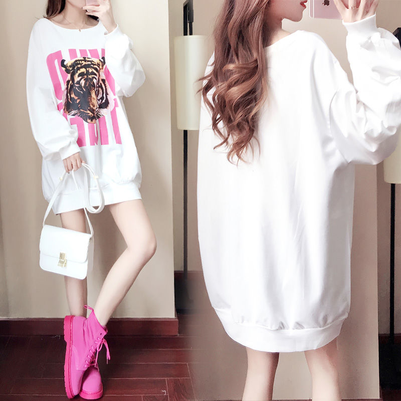Medium length spring and autumn thick / thin loose Pullover womens wear Korean fashion T-shirt Long Sleeve Dress
