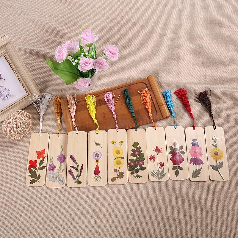 天然手工真花干花书签 时尚鲜花竹制礼物 创意流苏木质竹片书签