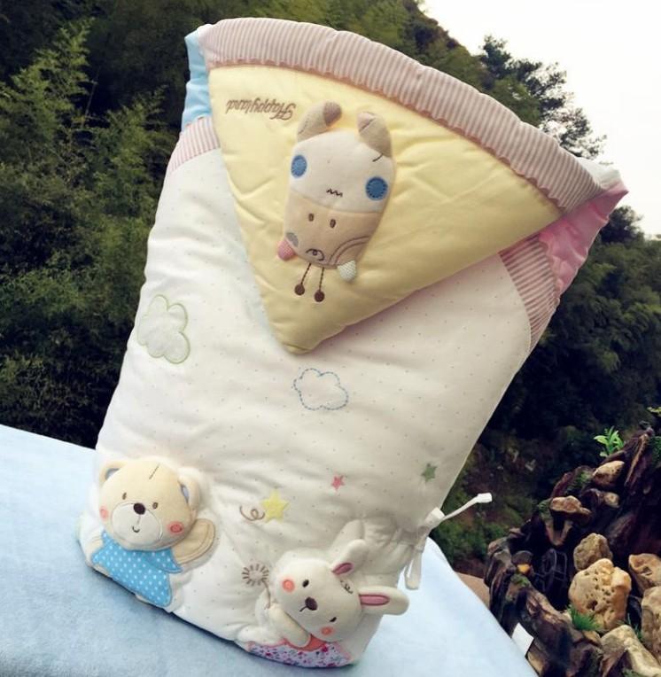 HAPPYLAND新生儿纯棉秋冬加厚款抱被毯 初生婴儿襁褓包被