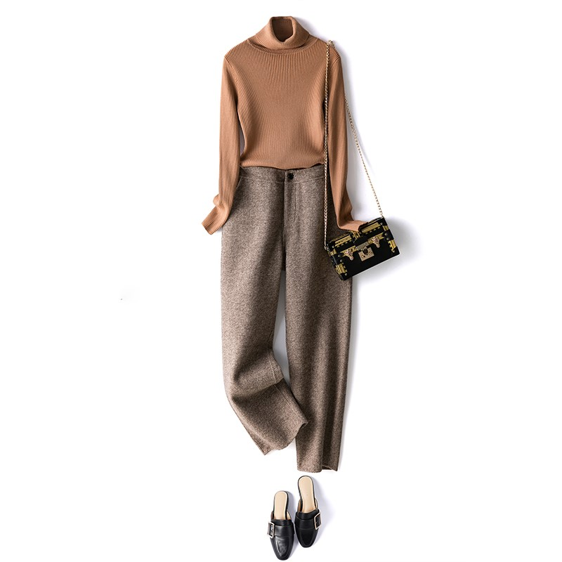 2020 pants womens loose cashmere autumn and winter pants loose straight versatile wool pants double faced casual pants~
