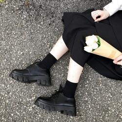 复古学生系带增高小皮鞋女英伦配裙子松糕底秋鞋厚底大头娃娃单鞋