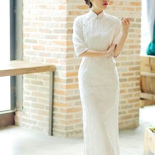 春夏中式复古旗袍年轻款少女中长款刺绣花日常可穿民国风连衣裙茹