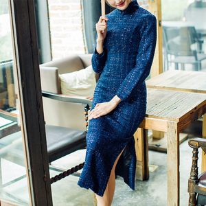 秋冬季新品小香风复古格子粗毛呢优雅冬装旗袍裙中长款旗袍女